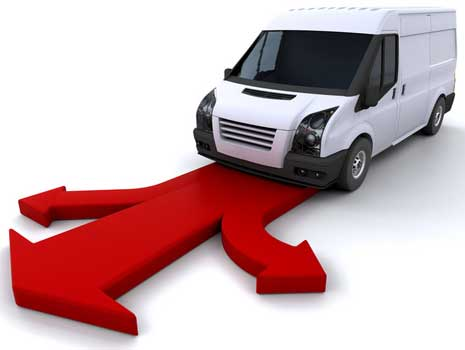 image of van with a red arrow